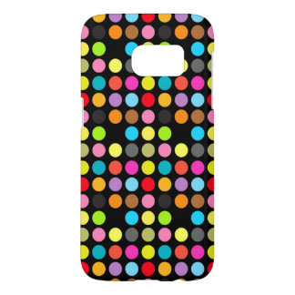 Colorful Polka Dots Pattern on Black Samsung Galaxy S7 Case