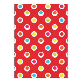 Colorful Polka Dots Pattern on Red Card