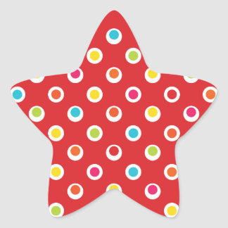 Colorful Polka Dots Pattern on Red Star Sticker