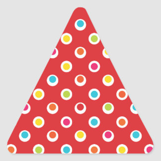 Colorful Polka Dots Pattern on Red Triangle Sticker