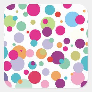 Colorful Polka Dots Pattern Square Sticker