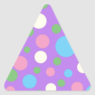 Colorful polka dots pattern triangle sticker