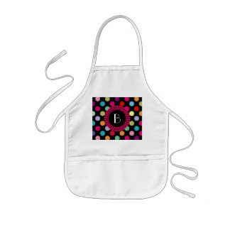 Colorful Polka Dots Pattern with Monogram Kids' Apron