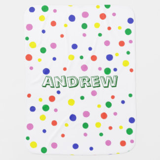 Colorful Polka Dots Personalized Baby Blankets