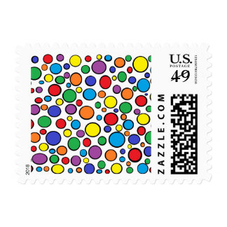 Colorful Polka Dots Postage Stamps