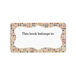 """Colorful Polka Dots """"This Book Belongs To"""" Labels"""