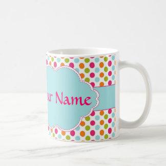 colorful polka dots with nameplate mug
