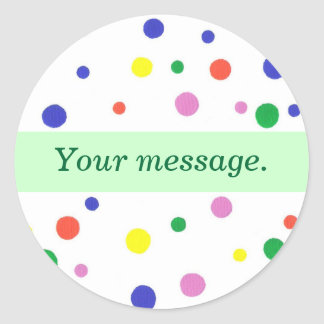 Colorful Polka Dots, Your message Green Stickers