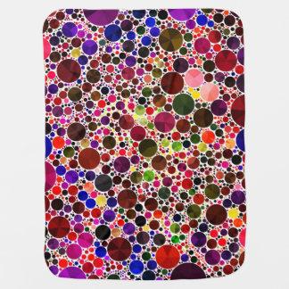 Colorful Polkadot Bling Stroller Blanket