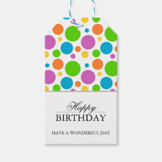 Colorful Polkadot Happy Birthday Gift Tags Pack Of Gift Tags