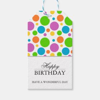Colorful Polkadot Happy Birthday Gift Tags