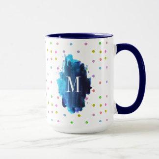 Colorful Polkadots Monogram Mug