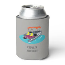 Colorful Pontoon Boat Personalized Can Cooler