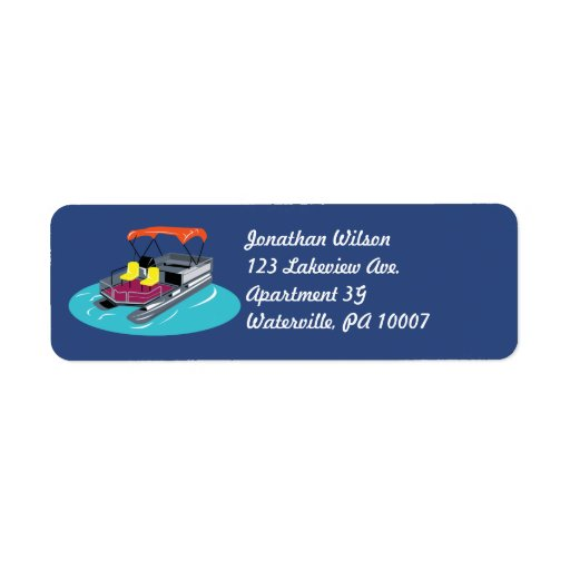 Colorful Pontoon Boat Return Address Labels