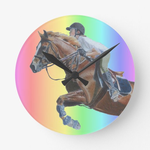 Colorful Pony Jumper Wall Clock