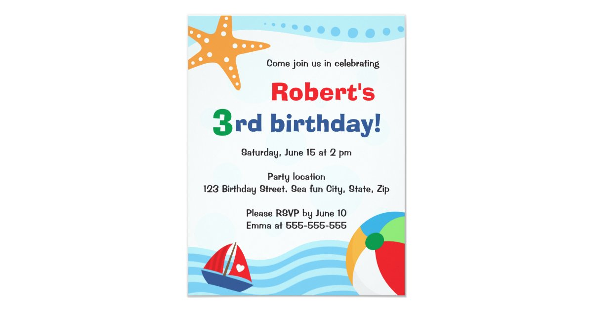 Colorful pool or beach party invitation for kids   Zazzle.com