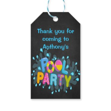 Beach Themed Colorful Pool Party Personalized Gift Tags