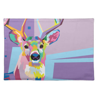 Colorful Pop Art Deer Portrait Cloth Placemat