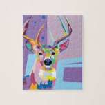 """Colorful Pop Art Deer Portrait Jigsaw Puzzle<br><div class=""""desc"""">Shades of blue,  purple,  and pink come together in this incredibly colorful pop art portrait of a woodland deer that&#39;s both trendy and modern.</div>"""
