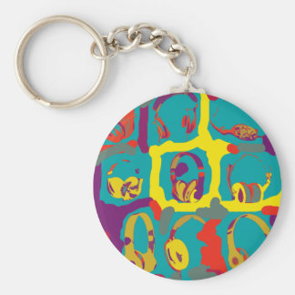 colorful pop-art-dj headphones keychain