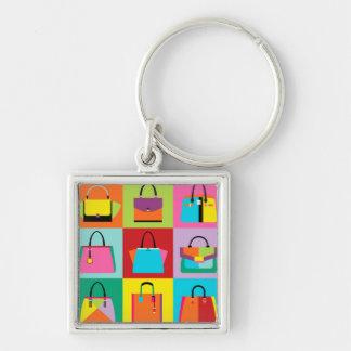 Colorful pop art feminine bags keychain