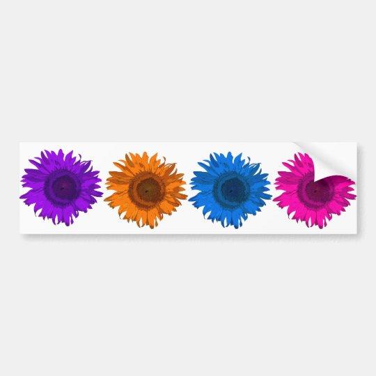 Colorful Pop Art Flowers Bumper Sticker