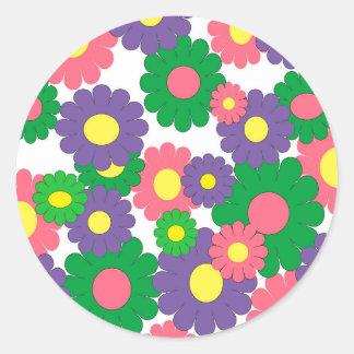 Colorful pop art flowers classic round sticker
