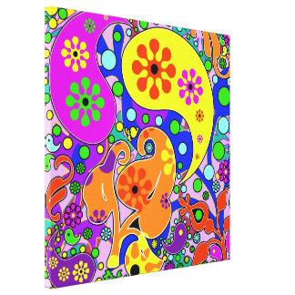 Colorful Pop Art Flowers Retro Paisley Gallery Wrap Canvas