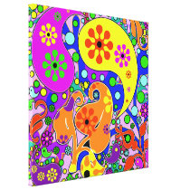 Colorful Pop Art Flowers Retro Paisley Canvas Print