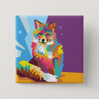 Colorful Pop Art Fox Portrait Pinback Button