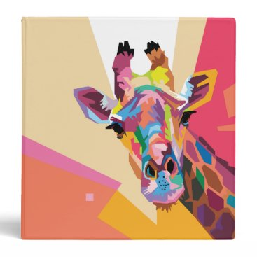 Beach Themed Colorful Pop Art Giraffe Portrait 3 Ring Binder
