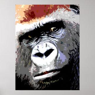 Colorful Pop Art Gorilla Portrait Poster