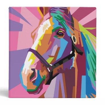 Beach Themed Colorful Pop Art Horse Portrait 3 Ring Binder