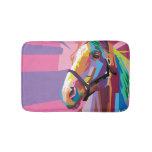 Colorful Pop Art Horse Portrait Bath Mat