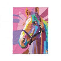 Colorful Pop Art Horse Portrait Fleece Blanket