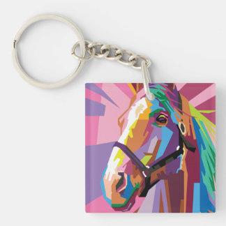 Colorful Pop Art Horse Portrait Keychain