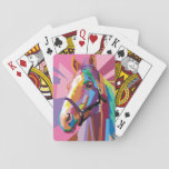 """Colorful Pop Art Horse Portrait Playing Cards<br><div class=""""desc"""">Shades of pink,  purple,  and brown come together in this vibrant pop art portrait of a beautifully colorful horse that&#39;s both trendy and modern.</div>"""