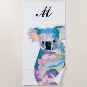 Beach Themed Colorful Pop Art Koala Monogrammed Beach Towel