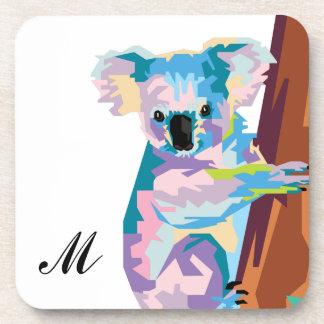 Colorful Pop Art Koala Monogrammed Coaster