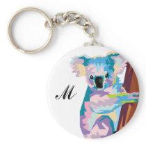 Colorful Pop Art Koala Monogrammed Keychain