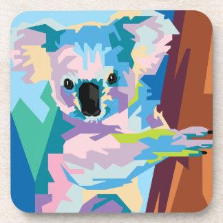 Colorful Pop Art Koala Portrait Drink Coaster