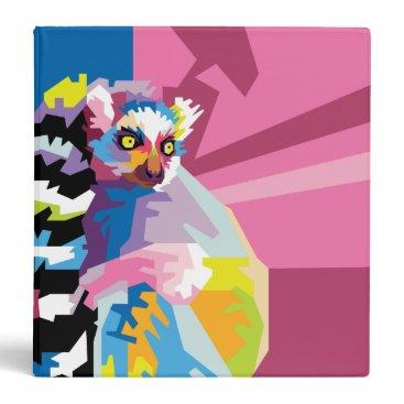 Beach Themed Colorful Pop Art Lemur Portrait Binder