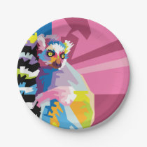 Colorful Pop Art Lemur Portrait Paper Plate