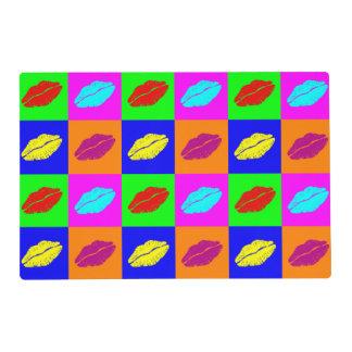 Colorful pop art lipstick kiss placemat
