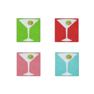 Colorful Pop Art Martini Magnet Set