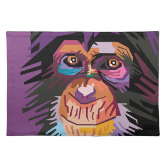 Colorful Pop Art Monkey Portrait Cloth Placemat