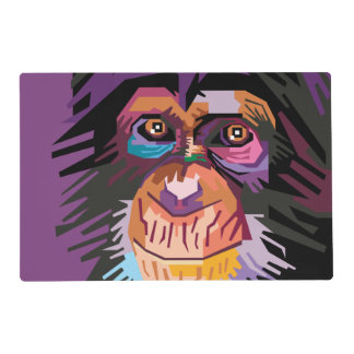 Colorful Pop Art Monkey Portrait Placemat