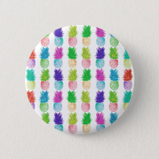Colorful pop art painting pineapple pattern pinback button