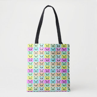 Colorful Pop Art Panda Bear Pink Blue Green Yellow Tote Bag
