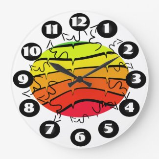 Colorful Pop Art Style Rainbow Colors CricketDiane Large Clock